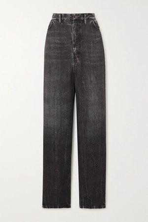 Black Printed satin wide-leg pants | Balenciaga | NET-A-PORTER