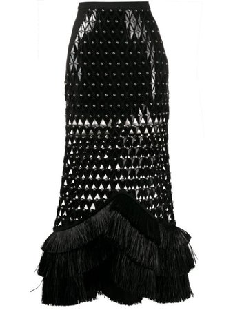 David Koma laser-cut Studded Skirt - Farfetch