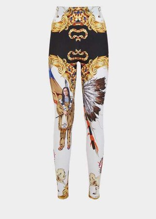 Versace Native Americans Print Leggings