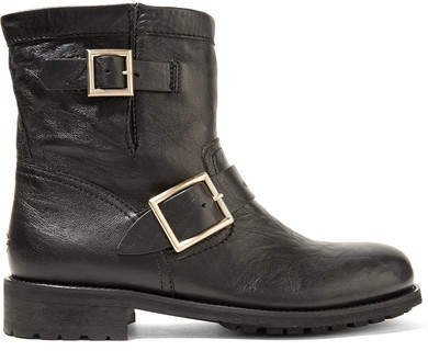 Youth Leather Ankle Boots - Black