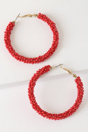 Chic Red Earrings - Red Beaded Earrings - Cute Hoop Earrings