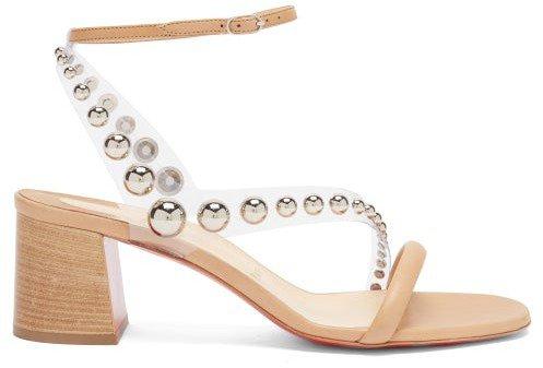 Corinne 55 Pvc-strap Leather Sandals - Beige