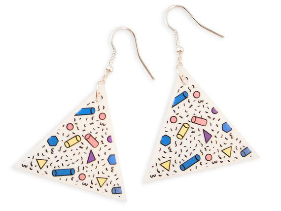 Retro 80's Memphis Style Colorful Geometric Triangle Long | Etsy