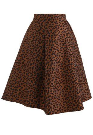 Leopard Jacquard Asymmetric Flare Skirt in Caramel - Retro, Indie and Unique Fashion
