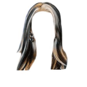 Short Dark Brown Hair PNG Blonde Streaks