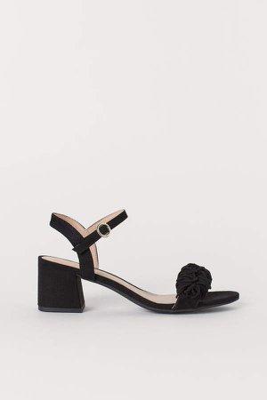 Sandals with Fringe - Black