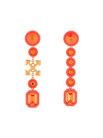 Off-White Arrows Crystal Drop Earrings - Farfetch