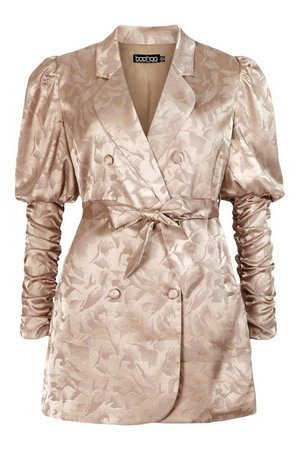 Satin Jacquard Ruched Sleeve Blazer Dress | boohoo brown
