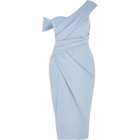 Blue one shoulder wrap bodycon midi dress   River Island