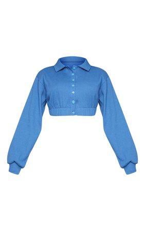 Steel Blue Rib New Season Elasticated Waist Button Up Crop Polo Shirt | PrettyLittleThing
