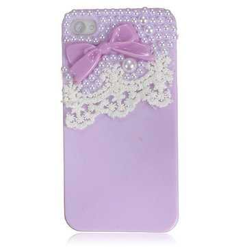 Cute Bow Lace Smooth Skin Pearl Hard Back Case Cover For iPhone 4 4S - US$2.19 sold out