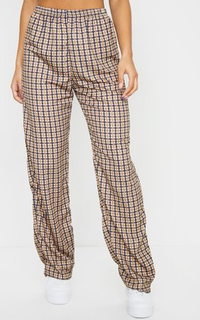 Stone Checked Wide Leg Trousers | Trousers | PrettyLittleThing