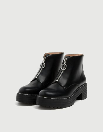 Black ankle boots with zip detail - pull&bear