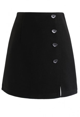 Irregular Button Decorated Wool-Blended Mini Skirt in Black - NEW ARRIVALS - Retro, Indie and Unique Fashion