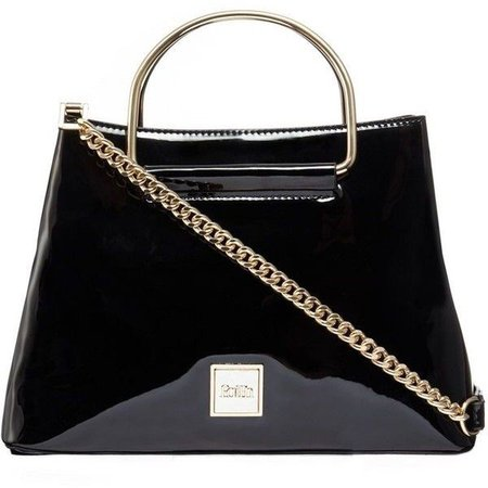 Faith Black patent small grab bag