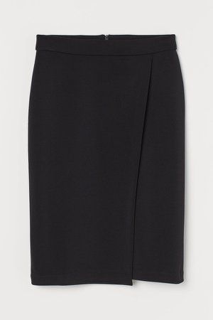 Wrapover Pencil Skirt - Black