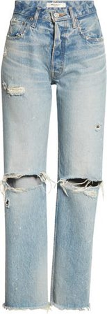 Odessa Distressed Wide Straight Leg Jeans   Nordstrom
