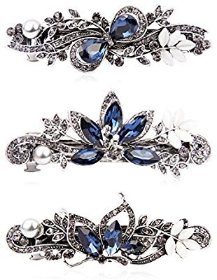 Amazon.com : Kicosy Barrettes for Women 3 Pack Vintage Shining Rhinestone Hair Barrettes Metal Flower Butterfly French Clip Faux Crystal Hair clip Spring Hair Barrette, Black and Navy Blue : Beauty