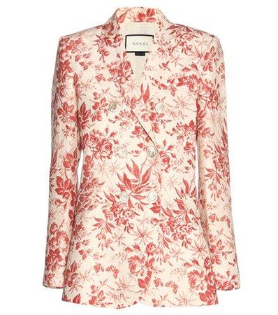 Floral-printed linen blazer