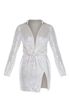 Silver Sequin Plunge Blazer Bodycon Dress | PrettyLittleThing