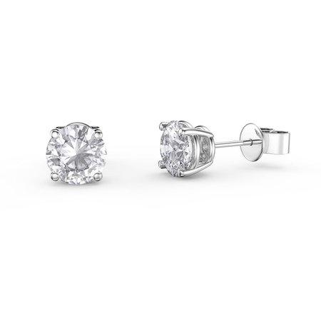 Charmisma 1ct White Sapphire Platinum Plated Silver Stud Earrings:Jian London:Silver Earrings