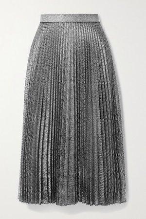 Pleated Metallic Lame Midi Skirt - Silver