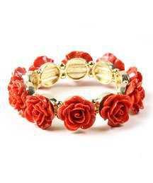 Amrita Singh Goldtone & Coral Rose Stretch Bracelet | zulily