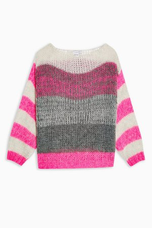 Pink Multi Stripe Knitted Sweater | Topshop