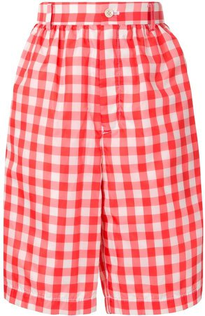 Gingham Checked Knee-Length Shorts