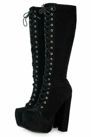 *clipped by @luci-her* Velvet Suede Black Lace Up Platform Calf Boots