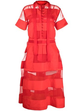 Shop red Sacai sheer panelled shirt dress with Express Delivery - Farfetch