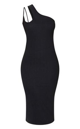 Black Bandage Rib Asymmetric One Shoulder Midi Dress | PrettyLittleThing USA