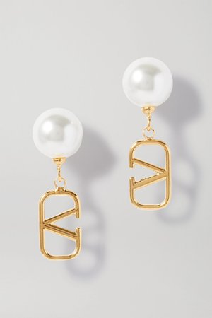 Gold Gold-tone faux pearl earrings | Valentino | NET-A-PORTER