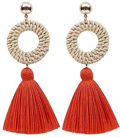 Amazon.com: ink2055 Boho Women Ladies Hollow Rattan Circle Cloth Tassel Dangle Long Stud Earrings Jewelry Gift - Red: Jewelry