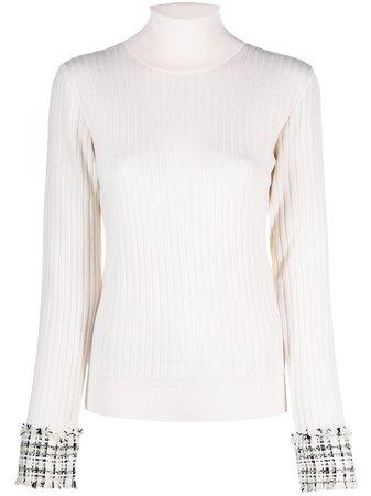 Dolce & Gabbana tweed-cuffs roll neck jumper