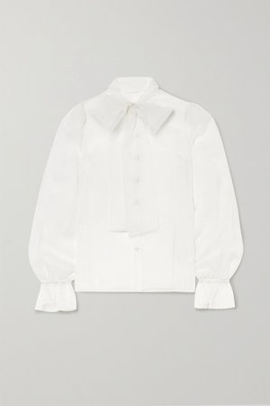 White Pussy-bow silk-organza blouse   Dolce & Gabbana   NET-A-PORTER