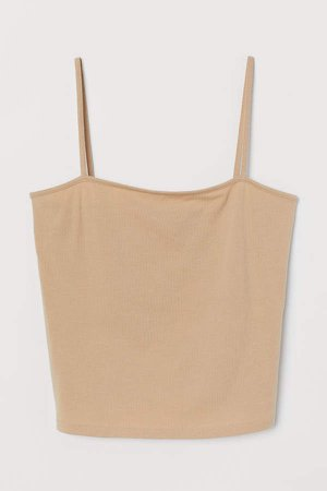 Cropped Jersey Camisole Top - Beige