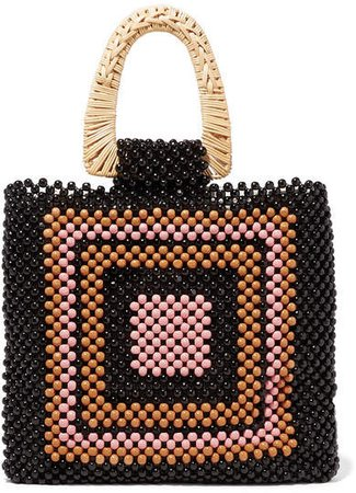 Amaya Beaded And Wicker Tote - Black