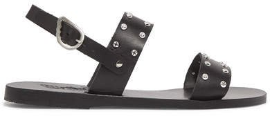 Dinami Studded Leather Slingback Sandals - Black