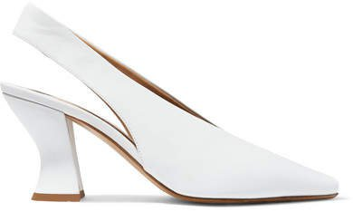 Almond Leather Slingback Pumps - White