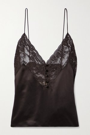 Brown Lace and silk-satin camisole | SAINT LAURENT | NET-A-PORTER