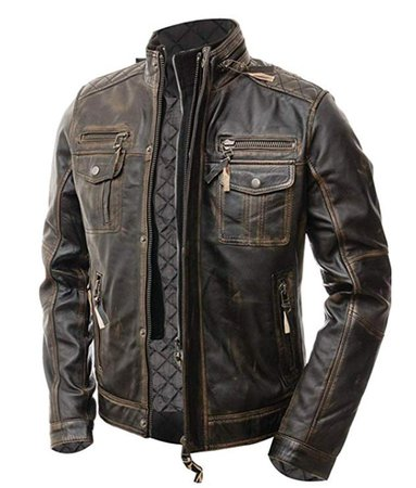 Mens-Double-Collar-Distressed-Leather-Jacket