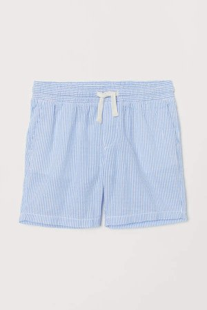 Textured-weave Shorts - Blue