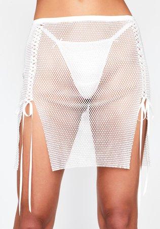 White Silver Lace Up Mini Rhinestone Skirt