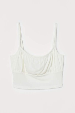Cropped Camisole Top - White