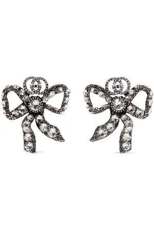 Gucci | Palladium-tone crystal earrings | NET-A-PORTER.COM