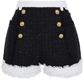 Button-embellished Metallic Tweed Shorts
