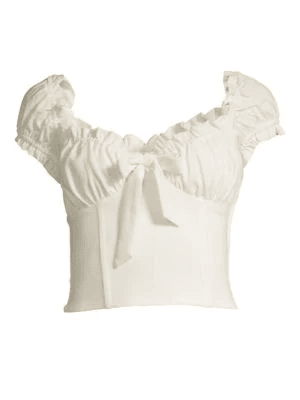 I.Am.Gia Naomi Ruffled Tie-Front Crop Top In White | ModeSens