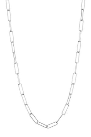 ADORNIA | White Rhodium Plated Sterling Silver Paperclip Link Chain Necklace | Nordstrom Rack