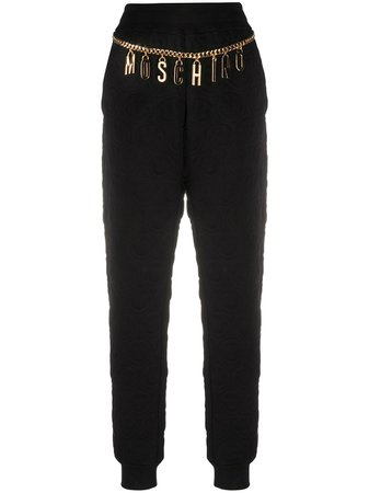 Shop black Moschino logo chain track trousers with Afterpay - Farfetch Australia